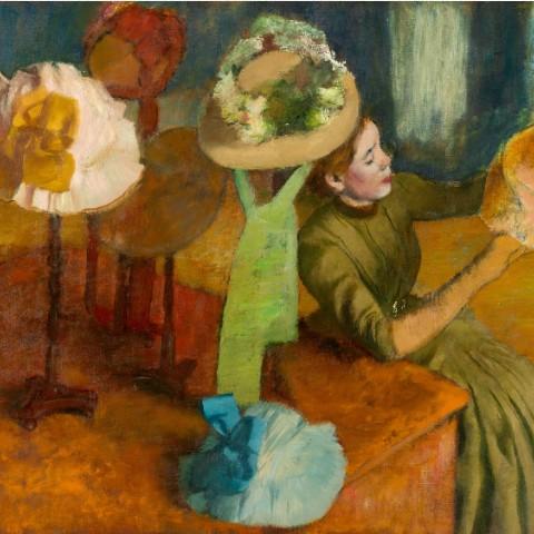 The Millinery Shop by Edgar Degas Canvas Print 12x12