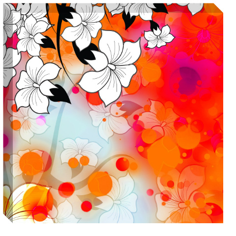 Tropical Flower Motif Canvas Print 24x24
